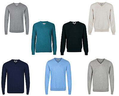 Ex M&s Mens V Neck Cotton Jumpers Sweaters Sweatshirt Ex Marks & Spencer New