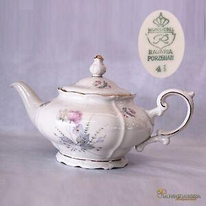 Teiera-antica-in-porcellana-Bavaria-da-te-the-vintage-bianca-profili-oro-a-fiori