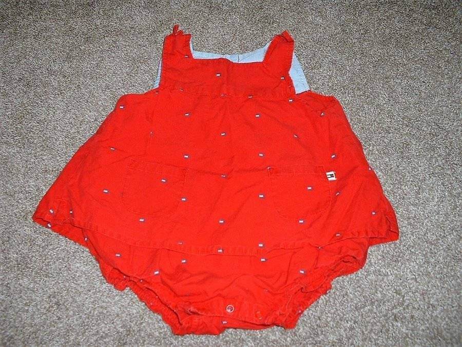 Tommy Hilfiger Baby Girls Red Summer Dress Romper Outfit Size 6 12