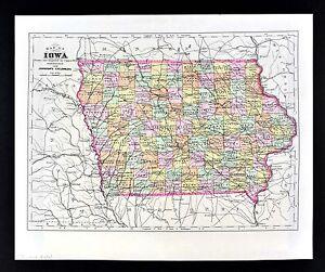 1896 Johnson Map Iowa Des Moines City Council Bluffs Keokuk