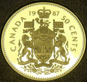 Other Us Coins Imported From Abroad Cameo Proof Canada 1987 50 Cents~179,004 Minted Bright And Translucent In Appearance Coins & Paper Money