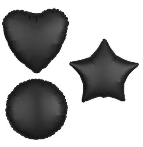 Satén Negro Corazón estrella círculo de Papel de Aluminio Globos Cumpleaños Globo decorador Luxe