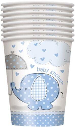 UMBRELLAPHANTS Blue Boy Baby Shower 8 PAPER CUPS - 9oz (Party/Decoration)