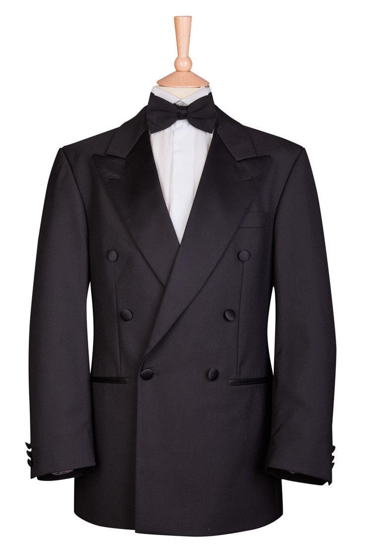Doppio petto NERO giacca smoking uomo NERO petto cravatta Tux Crociera Cena 70% di sconto f69e39