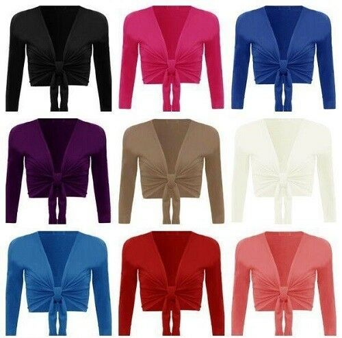 New Womens Ladies Long Sleeve Tie Front Cropped Shrug Top Cardigan 8-26 *BoleWtr
