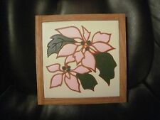 """POINSETTIA TILE TRIVET BY JANE AND BARBARA GLAZIN' IMAGES -TALLAHASSEE, FL 7""""X7"""""""