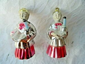 Vintage-Christmas-Ornaments-2-HARD-PLASTIC-BRADFORD-CHOIR-BOYS-w-CANDLES