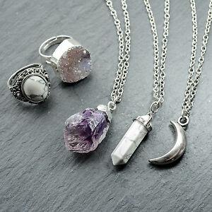 Amatista-Cristal-curativo-Cuarzo-Cluster-necklace-silver-boho-bohemian-Piedra-Regalo