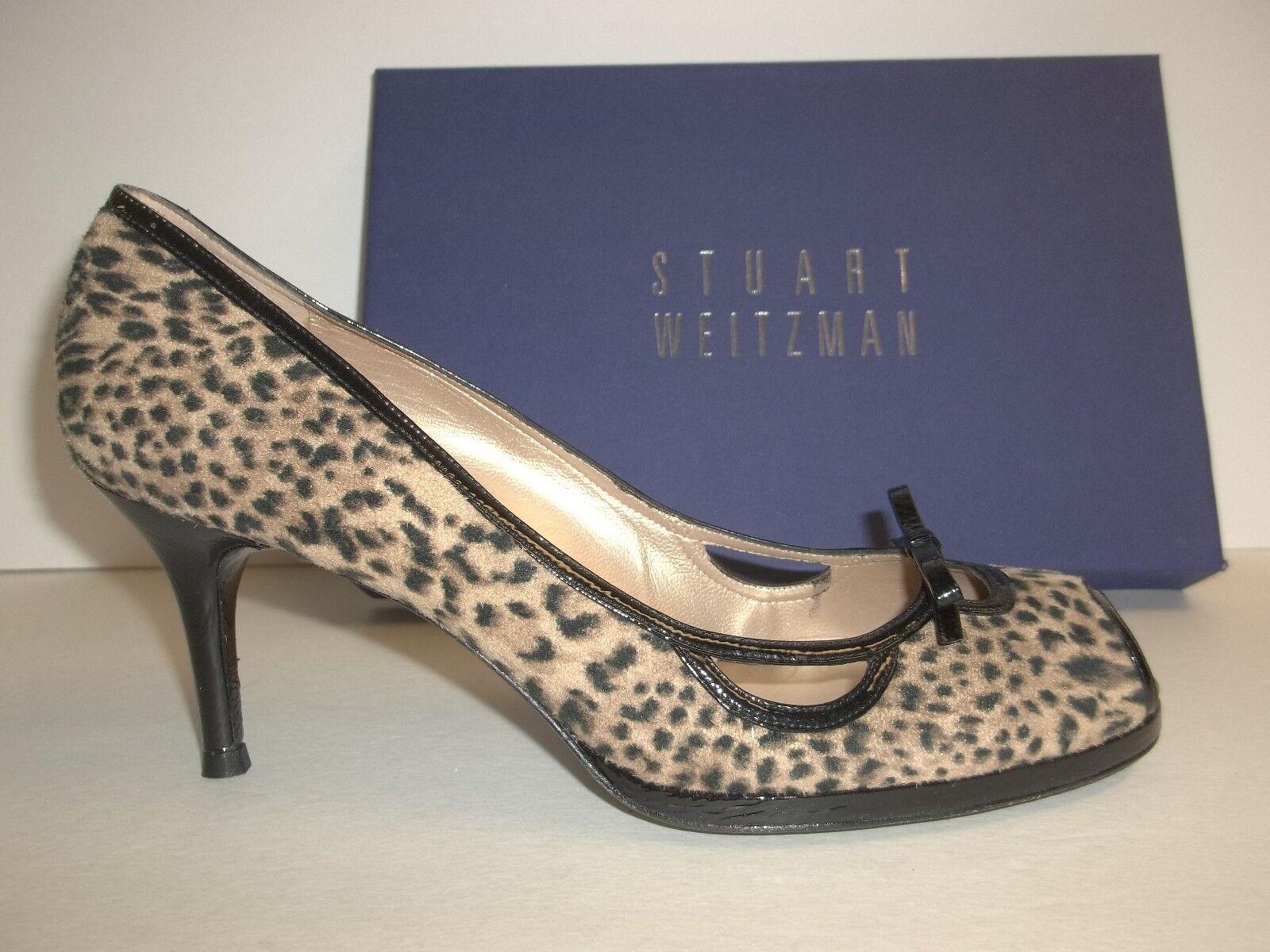 Stuart Weitzman Talla 9.5 M Becon Leopardo Cuero Peep Toe Toe Toe Tacones nuevo Zapatos para mujer  comprar nuevo barato