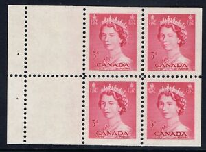 Canada-327b-1-1953-3-cent-carmine-rose-Elizabeth-KARSH-BOOKLET-PANE-OF-4-MNH