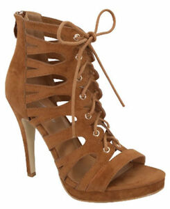 NEW-SIZE-7-5-TAN-CAGED-STILETTO-HIGH-HEEL-SANDAL-LACE-UP-WOMEN-OPEN-TOE-PLATFORM