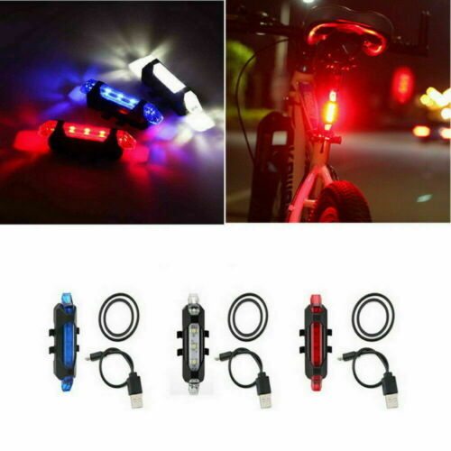 USB Rechargeable Bike Rear Tail Light LED Bicycle Warning Safety Smart Lamp New