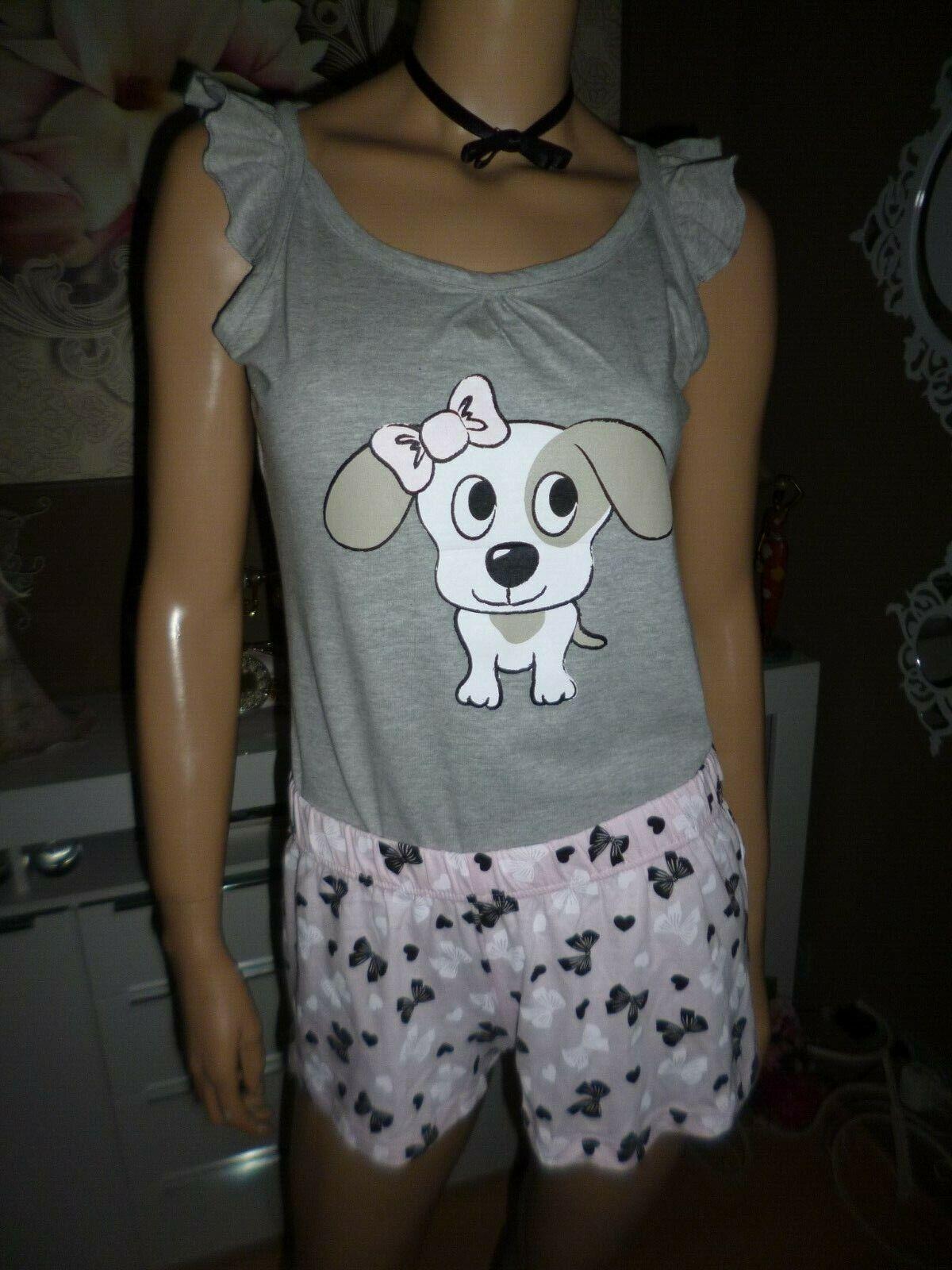 Schlafanzug+Sets Kurz Hose Süße Hund Motiv Uni mit Schleifen Design Gr. M NEU