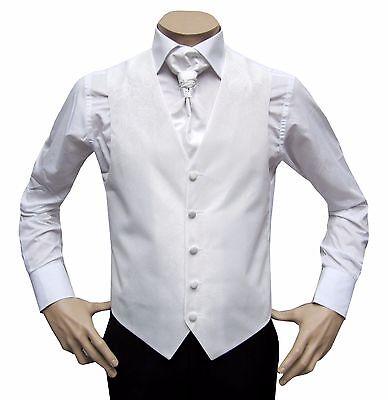 Discreto Nuziale Da Uomo Gilet 3 Pezzi Con Plastron Tg. 56 Bianco-mostra Il Titolo Originale Top Angurie