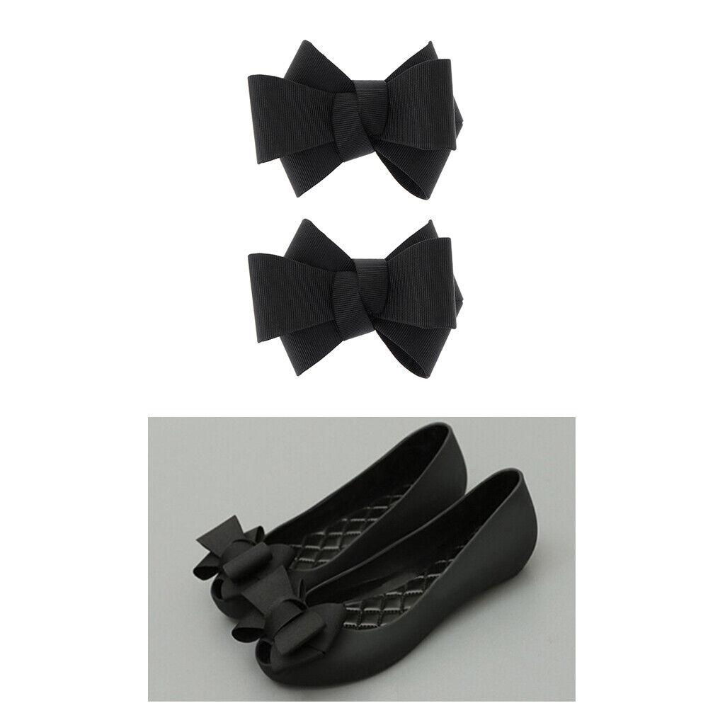 2/set Fashion Ribbon Bowknot Shoe Clip Charms Removable Shoes Decorations