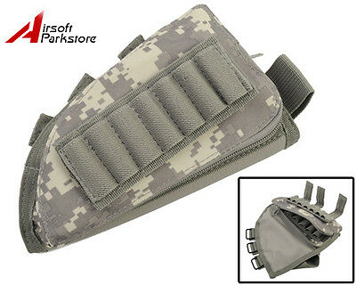 Airsoft Tactical Military Rifle Butt Stock Ammo Pouch with Cheek Leather Pad ACU