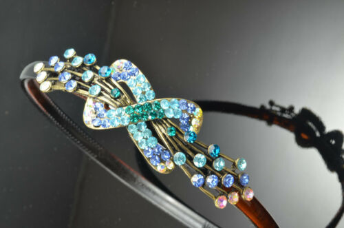 Antique Gold Infinity Simple Decor Metal Blue Color Crystal Hair Band Headband