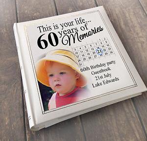 Personalised LUSSO grande LIBRO degli ospiti album fotografico, 60th Compleanno Regalo  </span>