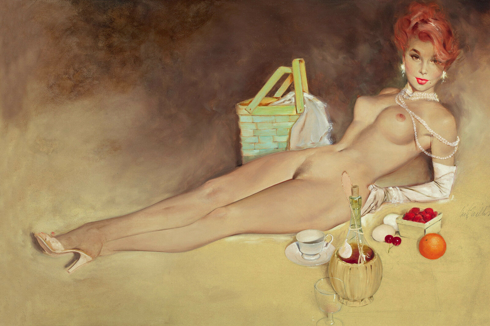 Canvas Giclee Print FRITZ WILLIS Girl Pin-Up A Moment of Pleasure Vintage s
