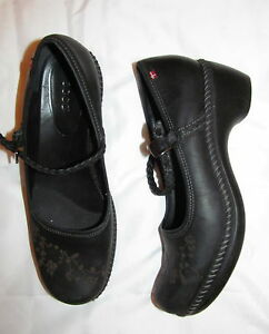 Danish Clogs Shoes 9 Black Leather 8 5 Mary 39 Us Design Floral Ecco Jane M rBCotsdxhQ