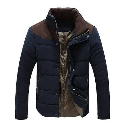 Jacket Cotton Coat Men Slim New Winter Padded Warm Casual Mens Fit Down Overcoat