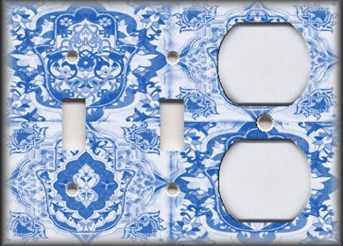 Metal Art Light Switch Plate Cover Hamsa Hand Art Decor Tiles Decor Blue Decor