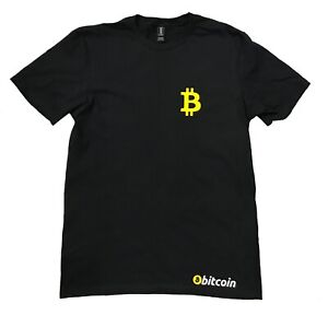 Black-T-shirt-100-soft-cotton-with-design-of-Bit-Coin-in-yellow-and-white