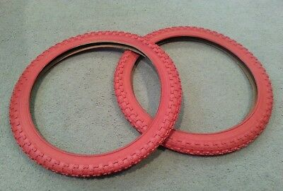TWO DURO 20X2.125 BMX BICYCLE TIRES RED MX3  COMP 3 TYPE 2