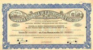 Compania-Espanola-de-Electricidad-y-Gas-Lebon-SA-obligacion-Barcelona-1950