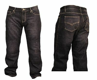 MOTORCYCLE REINFORCED WITH DuPont™ KEVLAR® JEANS PANTS CHARCOAL BLACK