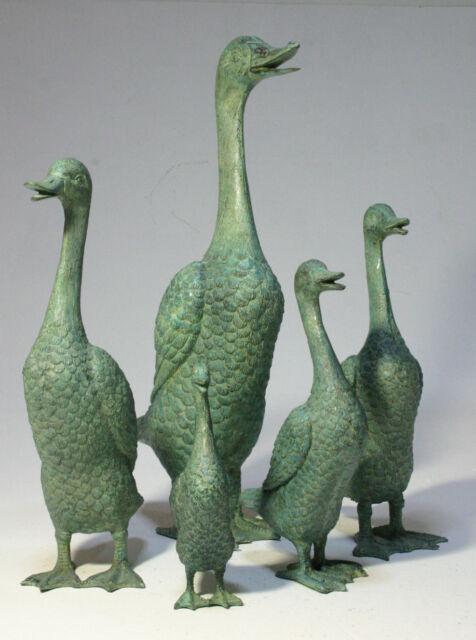 Delightful 5 Bronze Ducks Garden Statues: