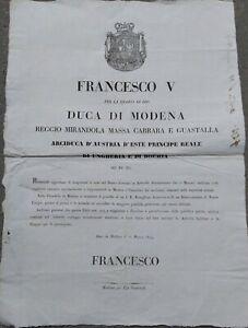 1849-18-MODENA-MANIFESTO-DI-FRANCESCO-V-SU-SPOSTAMENTO-SEDE-GOVERNO-A-BRESCELLO