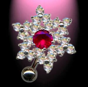 REVERSE-Piercing-nombril-haut-vers-le-bas-fleur-clair-FUCHSIA-ARGENT-925