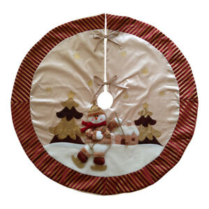 Details About Luxury Gold Cream Snowman Christmas Tree Skirt 42 Apron Decoration Fabric