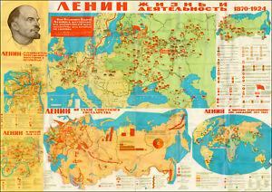 LENIN SOVIET USSR CCCP COMMUNIST PROPAGANDA MAP RUSSIAN REVOLUTION