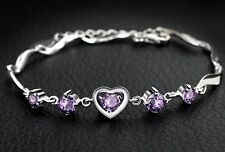 Sterling Silver Swarovski Elements Crystal Amethyst Heart Bracelet Chain Box B15