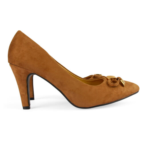Women/'s Ladies Low Mid High Heels Pointed Toe Girls Pumps Smart Work Court Shoes