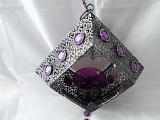 Colgante de Metal Grande De Diseño Morisco enrejado Vela o té titular de la luz.