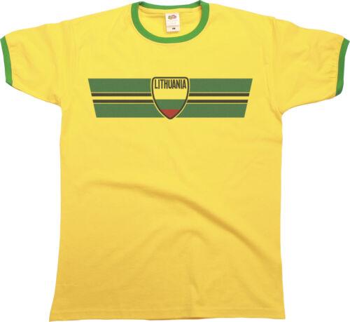 Homme ringer t-shirt lituanie rétro bande football jeux olympiques sports