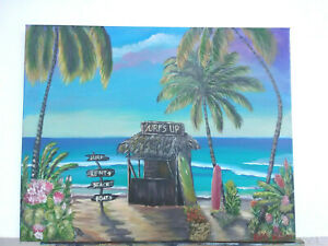 Original-Acrylic-Painting-Beach-Surf-Shack-16x20-Stretched-Canvas-Coastal-Art