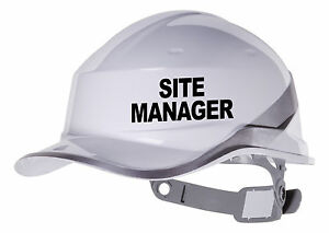 Image Is Loading 2x Site Manager Hard Hat Vinyl Decal Sticker