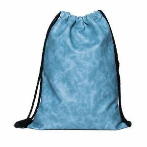Turnbeutel-Gym-Bag-Hipster-Rucksack-Sport-Beutel-Leder-Optik-blau-Tasche-neu