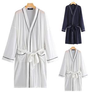 56000d58f7fba Image is loading Mens-Womens-Long-Sleeve-Bathrobe-Gown-Homewear-Spa-