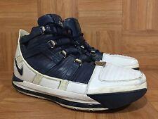RARE🔥 Nike Air Zoom LeBron III 3 White Midnight Navy Silver Sz 12 312147-141