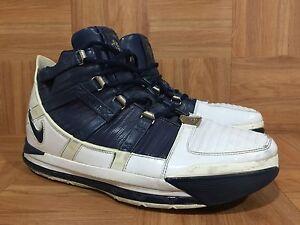 2006 Nike Zoom LEBRON III 3 WHITE NAVY BLUE SILVER WOLF GREY 312147-141 Sz 9.5