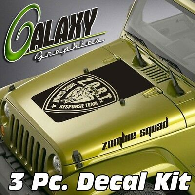 Jeep Wrangler 3 Pc Blackout Hood Decal Kit #21 Sahara Badge Sticker