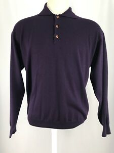 Jeff-Rose-100-Wool-Collared-Pullover-Sweater-Made-In-Italy-Men-s-Sz-Large-EUC