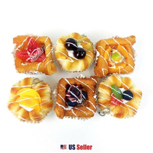 Random Japanese Scented Fruit Bread Squishy Key Chain Bag Accessories 1pc