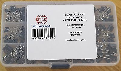 15 Value/Type 270 pcs Electrolytic Capacitor Assortment Box Kit 0.1uF to 470uF