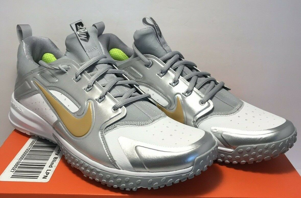 Nike Mens Sz 10 Alpha Huarache Turf Baseball White Metalic gold shoes 923435 171